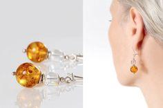 CHRISTMAS SALE Natural Amber Dangle Earrings Honey by AnnaBujak