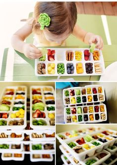toddler lunch- ice tray filled with variety - fruits , cheese , meats, pretzels.