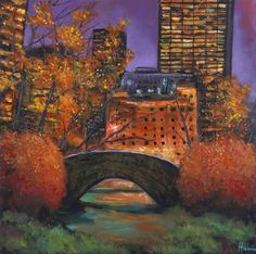 """""""New York City Night: Autumn"""". New York City, Central Park, Gapstow Bridge in autumn. Original contemporary urban landscape painting by Johnathan Harris. Own a limited edition, fine art giclee print."""