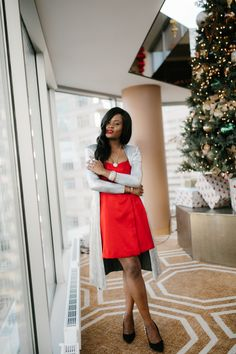 Silver tones for the holidays, red dresses for the holidays.nDavid Yurman Silver Sensations, Cranberry Tantrums, Jennifer Ibe, Red dress and Silver accents Holiday Style, Holiday Fashion, Holiday Outfits, Girly Girls, David Yurman, High Waisted Skirt, Holidays, Skirts, Silver