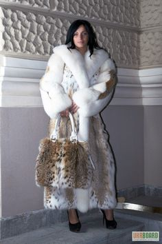 lynx & white fox fur coat & bag