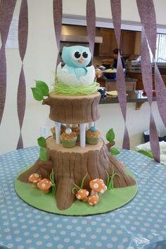 Cute way to make a log cake and put gruffalo characters around it