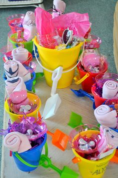 Perfect for my beach bachelorette party! Put favors in the pail and use as a mini cooler for bottles n drinks later