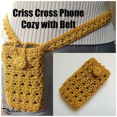 Free crochet pattern for aCriss Cross Phone Cozy with Belt. Both the crocheted phone cozy and belt can be adjusted to any size that you need.