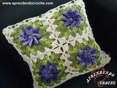 Capa Almofada em Crochê Catavento - Quadrada - Decorações em Crochê - Aprendendo Croche