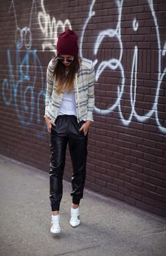 af361434e398b noSTYLEgic nedd me a pair of leather sweats Streetstyle Blogger, Leather  Joggers, Karlie Kloss