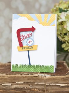 Happy 4th Birthday Card by Ashley Cannon Newell for Papertrey Ink (March 2015)