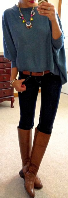 "Hello, Gorgeous!: threads. Teal rectangle sweater c/o Catch Bliss Boutique  Dark-wash skinny jeans  Brown belt  Brown riding boots ""Yasi"" necklace c/o Accessory Mercado Cuffs c/o Bauble Boutique"