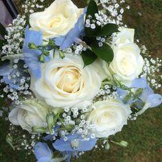 White rose, delphinium and gyp bridesmaid bouquet. #weddingflowers #bridesmaidflowers #roses #delphiniums