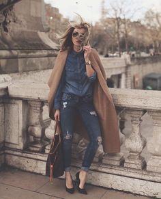 Zero Uv Sunnies, H&M Jeans, Louis Vuitton Bag, Zara Maxi Coat