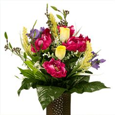 Fuchsia Peony and Yellow Rose Cemetery Vases, Cemetery Flowers, Cemetary Decorations, Order Flowers, Funeral Flowers, Yellow Flowers, Peonies, Flower Arrangements, Floral Wreath