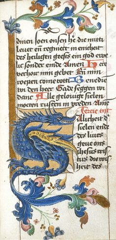 Zoomorphic initial (f°104) -- Book of hours, Netherlands, N. or Germany, N. W. (Lower Rhineland), ca 1463-1476, attributed to the circle of the Master of the Berlin Passion [BL Ms Harley 1662]