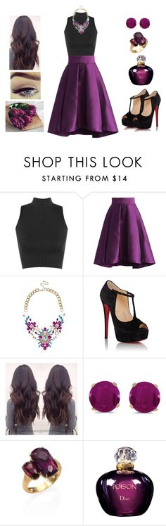 """""""Mysterious Purple ♥"""" by muppets-cookie-monster ❤ liked on Polyvore featuring WearAll, Chicwish, Liquorish, Christian Louboutin, BillyTheTree, Marco Bicego and Christian Dior"""