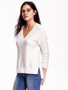 Textured-Knit V-Neck Sweater | Old Navy