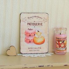 Dollhouse Miniature   Pink Cake Patisserie   French Picture Sign Plaque   Shabby Chic   12th Scale