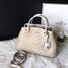 Coach purse  ❗️No Trades❗️100% authentic❗️Beautiful light/khaki/chalk Small Margot Carryall IN Signature Canvas. F34608 Coach Bags