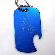 "MLP Rarity Blue Key Chain With 4"" Chain Dog Tag Aluminum Bottle Opener EDG-0233"