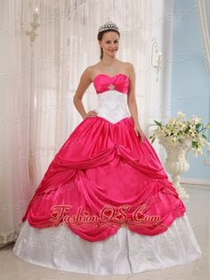 New Coral Red and White Quinceanera Dress Sweetheart Taffeta Appliques Ball Gown  http://www.fashionos.com    This quinceanera dress is fantastic.Its bodice shimmers and shines with gorgeous accents.Bold piping lends it a corset-style design that you'll love.And below the spectacular skirt begins at the hip. Stylish ruching comes together on the sides of the skirt to create a beautiful floral effect. You will be eye-catching on the party.