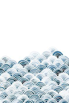 Watercolor Blue Waves Art Print