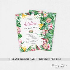 Instant Download Editable PDF Printable DIY file Template Cheap Affordable 1st 2nd 3rd 4th 5th 6th 7th 8th 9th 10th 11th 12th 13th 14th 15th 16th 18th 21st 30th 40th 50th Birthday Party Invitation Invite Pink Tropical Monstera Leaves Greenery Floral Flowers Summer Hawaiian  Stationery Ideas Inspiration Decor Decorations Birthday Party Celebration, 50th Birthday Party, 1st Birthday Girls, Birthday Party Invitations, Tropical Party Decorations, Baby Shower Decorations, Tropical Girl, Summer Birthday