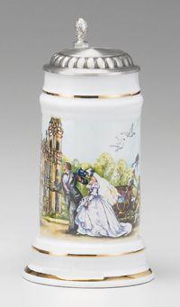 PORCELAIN WEDDING STEIN - German Made Beer Steins