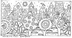 RUG HOOK PAPER PATTERN Seaside City FOLK ART ABSTRACT MODERN Karla G | eBay