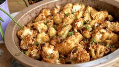 Cauliflower with parmesan Russian Recipes, Potato Salad, Cauliflower, Food And Drink, Healthy Eating, Low Carb, Vegetarian, Fresh, Meat