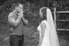 Amazing face the groom makes when he see's his bride for the first time! The Barn at Chestnut Springs in Tennessee. Photos by Knoxville wedding photographers Shane Hawkins Photography. wedding, wedding day, gorgeous, lovely, kiss, first look, priceless, groom, bride, black and white