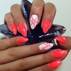 Starfish Nail Art Coral Almond Nails Summer 2014 Design  #ByMargarita