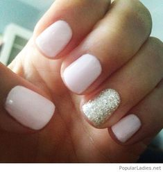 Cute pale pink nails with silver glitter detail