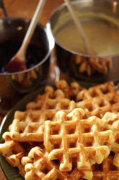 I've always liked waffles. Then I traveled to Belgium and figured I'd reached waffle heaven. Once you've had crispy, chewy, yeasty Belgian waffles there's no going back. I thought Belgian waffles were the… Sourdough Waffle Recipe, Best Waffle Recipe, Sourdough Recipes, Waffle Recipes, Sourdough Pancakes, Sourdough Bread Benefits, Bread Recipes, Breakfast Desayunos, Breakfast Recipes