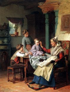 """""""Trying On Grandmother's Spectacles"""" by Theodore Gerard (1829 – 1895, Belgian)"""