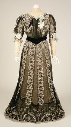#1  Dress House of Worth  (French, 1858–1956)   Date: 1906 Culture: French Medium: silk, cotton. Front