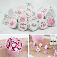 Pink and Gray Elephants and Chevron Stickers just for Hershey Kisses!