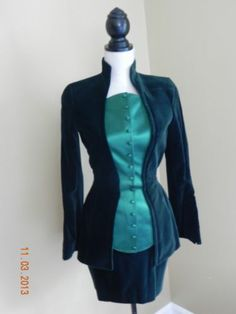Thierry Mugler from Paris 2 Piece Green Velvet Silk Suit Size 2 | eBay