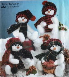 "Vintage Simplicity Crafts Pattern 5305 to Make 16"" Snowmen, Hat, Scarf, OOP Uncut Straw Stockings by Sherly Echard by sandritocat on Etsy"