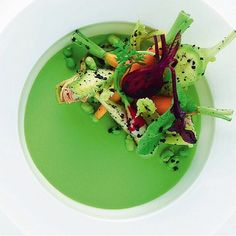 #TBT Baby vegetables: radish, carrots, purple artichoke, peas, and truffle with a tender pea condiment by chef Alain Ducasse from France #TheArtOfPlating