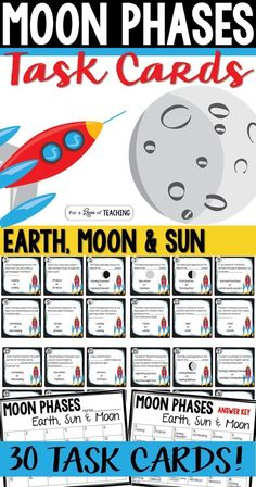 Moon Phases Task Cards (Earth, Moon & Sun)  This product works great as a review of moon phases. You could use it as student desk work, center work, or as a Scoot game.