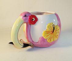 Extra Large Tropical Pink Flamingo Ceramic Coffee Mug - 22 Oz