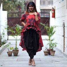 Dhoti Pants and Peplum Top Idea :- Wanderlust Fashion . Salwar Designs, Dress Designs, Jacket Style Kurti, Fall College Outfits, Bride Sister, Indian Textiles, Patiala, Pakistani Outfits, India Fashion