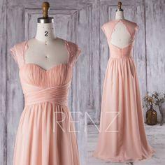 2017 Peach Chiffon Bridesmaid Dress, Ruched Sweetheart Wedding Dress, Lace Open Back Prom Dress, Long Formal Dress Floor Length (H270)
