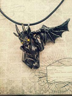 Black Dragon Pendant by MakoslaCreations on Etsy, $35.00