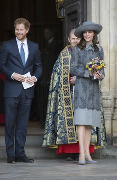 Prince Harry and Catherine, Duchess of Cambridge leave the annual Commonwealth Day service on Commonwealth Day on March 14, 2016 in…