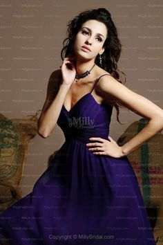 A-line Spaghetti Straps Purple Ruched Chiffon Knee-length Party Dress
