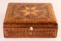 Fine Marquetry Star Pattern Folk Art Keepsake Box