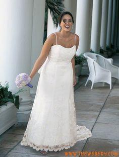 elegante bianco in pizzo taglie forti Abito da sposa 2013