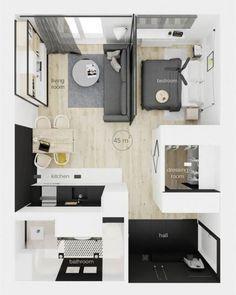 very tiny studio apartment ideas Modern Studio Apartment Ideas, Studio Apartment Floor Plans, Studio Apartment Layout, Small Apartment Design, Studio Apartment Decorating, Small Room Design, Bedroom Floor Plans, Apartment Interior, Small Apartments