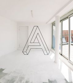 the letter A, impossible object, Anamorphic art by fanette g.