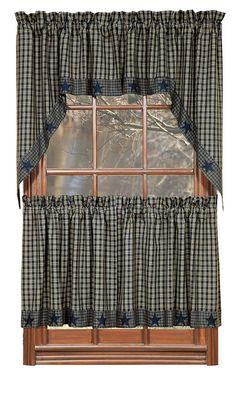 Navy Applique Star Plaid Window Panels Homespun Primitive Blue ...