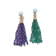 Pair of gem set and diamond ear clips, Bulgari Each surmount set with a cabochon turquoise and brilliant-cut diamonds, suspending a tassel set with polished emerald and amethyst beads, each signed Bulgari, numbered, Italian assay and maker's marks